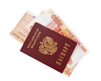 Factures de rouble russe, billets de train et passeport d'isolement sur le whi Images libres de droits