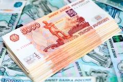 Factures de rouble russe Pile d'argent photos libres de droits