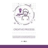 A faculdade criadora pensa a bandeira criativa da Web do negócio do processo da inspiração nova da ideia com espaço da cópia ilustração do vetor