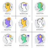 A faculdade criadora pensa que os trabalhos criativos do negócio do processo do clique novo da ideia aprovam o grupo do ícone ilustração royalty free