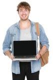 Faculdade/estudante universitário que mostra a tela do portátil Imagens de Stock