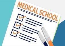 Facultad de Medicina o concepto de planificación del icono Se terminan todas las tareas Hojas de papel con las marcas de verifica ilustración del vector