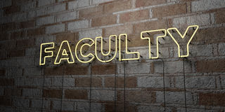 FACULTY - Glowing Neon Sign on stonework wall - 3D rendered royalty free stock illustration. Can be used for online banner ads and direct mailers Royalty Free Stock Photo
