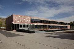 Faculty. Modern building of pharmaceutical faculty of the Madrid university to Complutense stock image