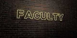 FACULTY -Realistic Neon Sign on Brick Wall background - 3D rendered royalty free stock image. Can be used for online banner ads and direct mailers Stock Photo