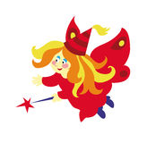 Fada bonita dos desenhos animados com a varinha mágica isolada no fundo branco Fotografia de Stock