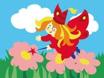 Fada bonita dos desenhos animados com a varinha mágica no prado Fotografia de Stock