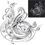 Fada decorativa de phoenix em um illustratio do vetor do ornamento da flor Fotografia de Stock Royalty Free