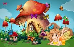 Fada e borboletas na casa do cogumelo ilustração royalty free