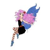 Fada mágica com asas e ilustração de cor longa do cabelo para livros e fábulas Imagens de Stock Royalty Free
