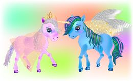 Fada Pegasus e pôneis bonitos ilustração royalty free