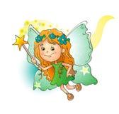 Fada pequena adorável com uma varinha mágica Imagens de Stock Royalty Free
