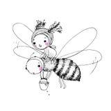 Fada pequena bonito e a abelha ilustração stock