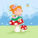 Fada pequena feliz da mola que senta-se no cogumelo e na abelha vermelhos ilustração royalty free