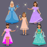 Fadas pequenas bonitos e princesas Foto de Stock