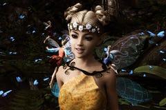 Fadas que voam na floresta mágica Fotos de Stock