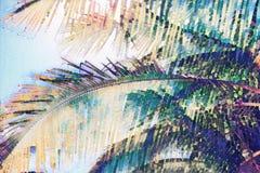 Faded coco palm leaf on blue sky background. Tropical nature vintage digital illustration. Exotic island landscape. Coco palm leaf banner template. Tropical stock illustration