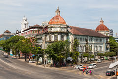 Faded colonial glory in downtown Yangon Stock Photography