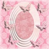 Faded Oval Butterfly Frame royalty free illustration