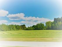 Faded farm field. Faded newly cut grass field stock images
