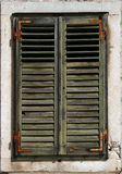 Faded green window shutters Stock Photography