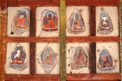 Faded Ladkahi buddhist paintings royalty free stock images