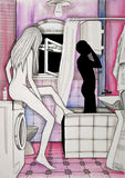 Faded Memories. Illustration of a couple in the bathroom. Pink tones Royalty Free Stock Photography