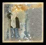 Faded picture of ghostly figure in abandoned house. Abstract illustration Royalty Free Stock Images