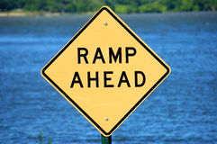 Faded Ramp Ahead Sign Stock Image