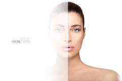 Faded side on face of woman. Skin care concept Royalty Free Stock Image