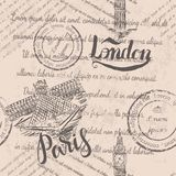 Faded text, stamps, big ben, lettering London, Paris label with hand drawn the Louvre, lettering Paris, seamless pattern. On beige background stock illustration
