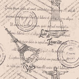 Faded text, stamps, Christ the Redeemer, lettering Rio de Janeiro, Eiffel Tower, lettering Paris, seamless pattern Royalty Free Stock Images