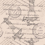 Faded text, stamps, Christ the Redeemer, lettering Rio de Janeiro, seamless pattern Royalty Free Stock Photography