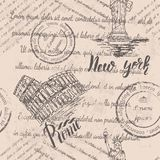 Faded text, stamps and the Statue of Liberty with lettering New york, Coliseum, lettering Rome, seamless pattern. On beige background vector illustration