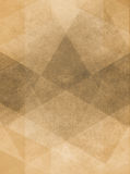 Faded vintage brown background illustration with layered geometric design. Abstract brown background design of gray angled squares blocks triangles and diamond Stock Image