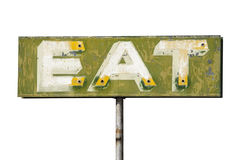 Faded Vintage Eat Sign Isolated Royalty Free Stock Photography