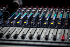 fader digital mixing console with volume meter Royalty Free Stock Images