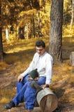 fader för 2 barn royaltyfri fotografi
