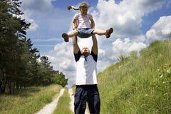 fader för 3 dotter Arkivfoton