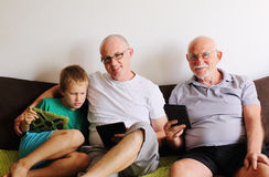 Fader, farfar och son Royaltyfri Foto