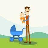 Fader Hold Baby, nyfödd Pramnaturbakgrund Fotografering för Bildbyråer