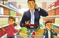 Fader med barn i en supermarket Arkivbild