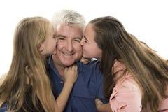 Fader med döttrar Arkivbilder