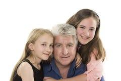 Fader med döttrar Arkivfoton