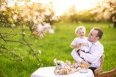Fader med en son i trädgården Royaltyfri Foto