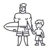 Fader med sonen på semester med surfingbrädavektorlinjen symbol, tecken, illustration på bakgrund, redigerbara slaglängder Royaltyfria Bilder