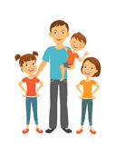 Fader med ungar Farsa och barn Denna är mappen av formatet EPS10 stock illustrationer