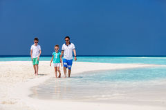Fader med ungar på stranden Arkivfoto
