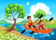 Fader och dotter på kajaken i floden royaltyfri illustrationer