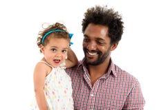 Fader och dotter som isoleras tillsammans på vit bakgrund Arkivfoton